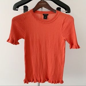 4/$24 Ann Taylor Factory Orange Shirt with ruffles